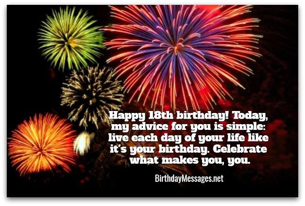 Best ideas about Birthday Wishes For 18 Year Old . Save or Pin 18th Birthday Wishes Birthday Messages for 18 Year Olds Now.