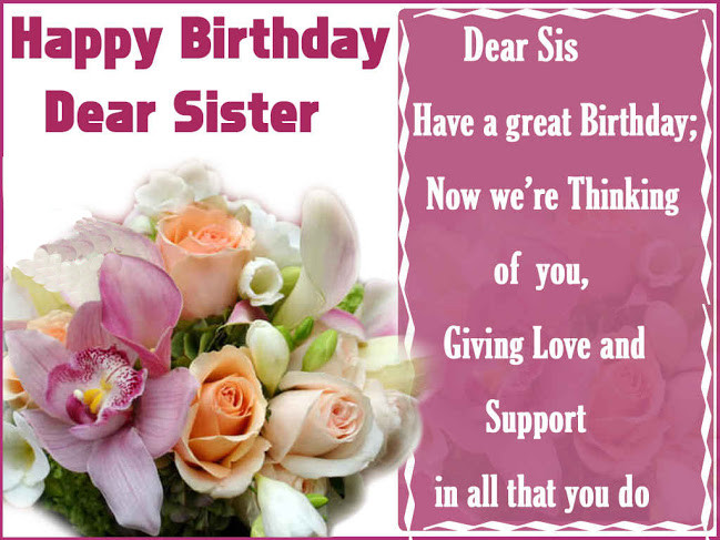 Best ideas about Birthday Wishes For Sister Images . Save or Pin Happy Birthday Wishes for Sister Now.