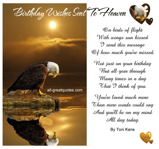 Birthday Wishes In Heaven  Birthday In Heaven Quotes To Post QuotesGram