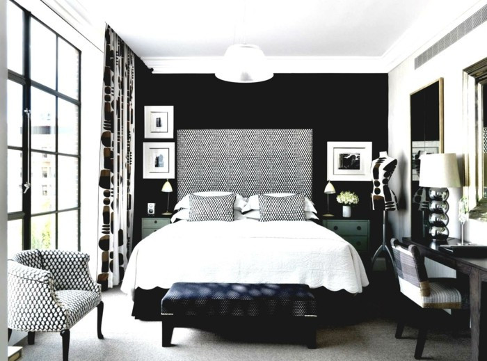 Best ideas about Black Accent Wall Bedroom . Save or Pin In Black – 31 Examples That Black Bedrooms Are Stylish And Now.