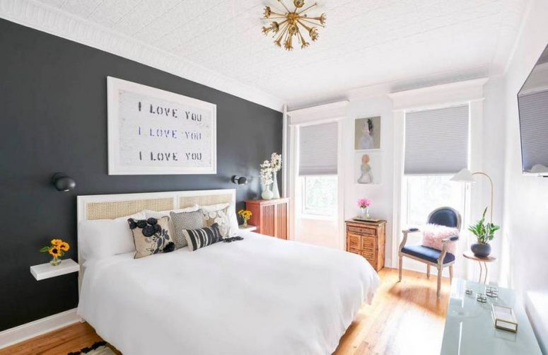 Best ideas about Black Accent Wall Bedroom . Save or Pin Modern Apartment With An Oversized Mirror In A Living Room Now.