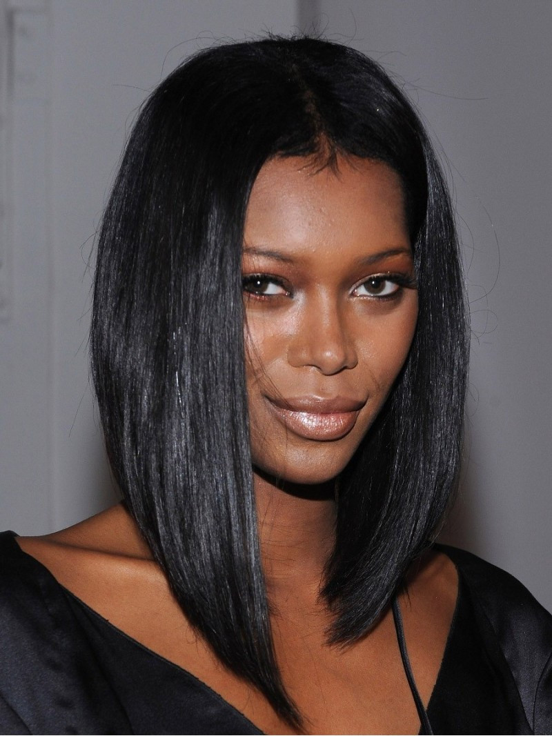 Black Straight Hairstyles  1 Jet Black Silky Straight Middle Part Bob Lace Front Wig