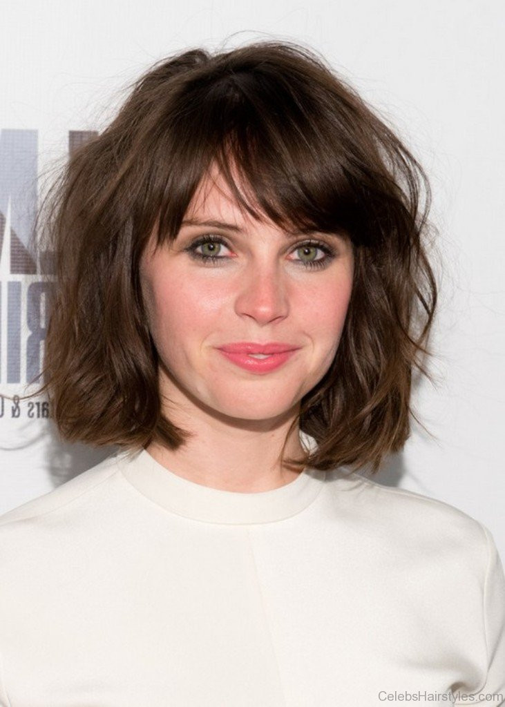 Bob Hairstyles With Bangs  52 Attractive Hairstyles Felicity Jones