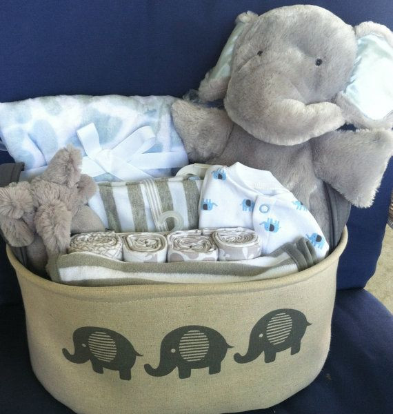 Best ideas about Boy Baby Shower Gift Ideas . Save or Pin Baby boy elephant basket cute baby shower t gray Now.