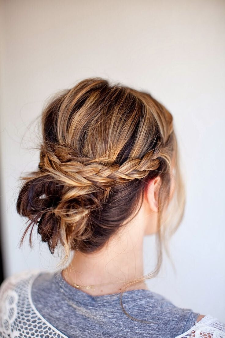 Braid Bun Hairstyles  18 Quick and Simple Updo Hairstyles for Medium Hair