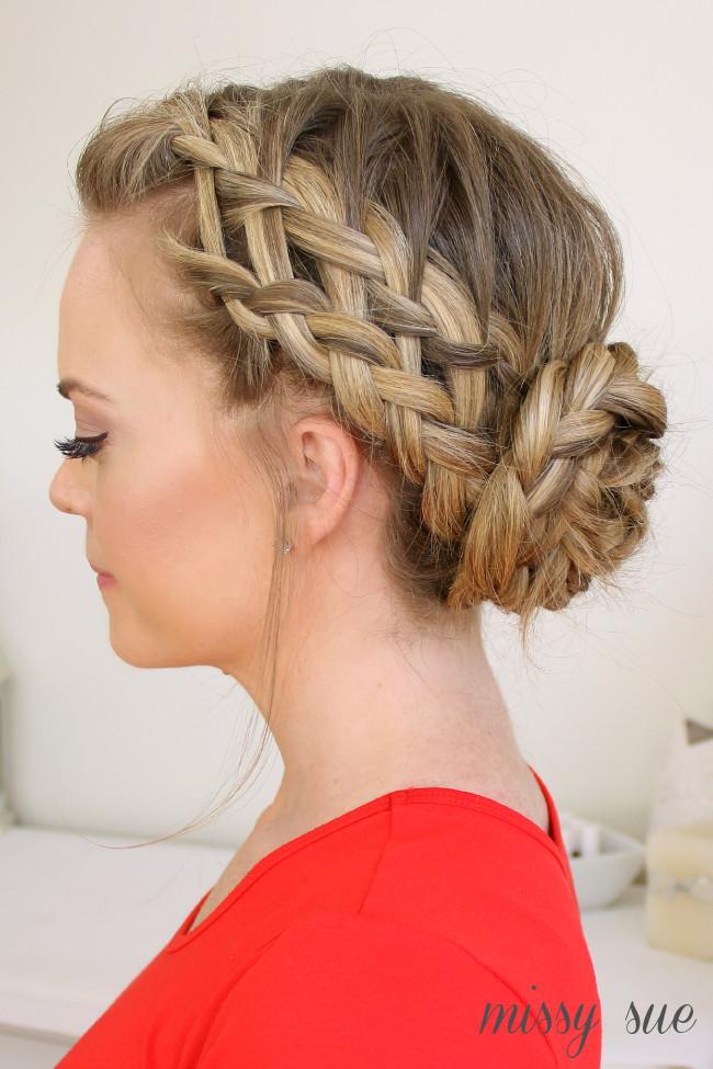 Braid Bun Hairstyles  Waterfall Dutch French Braided Bun