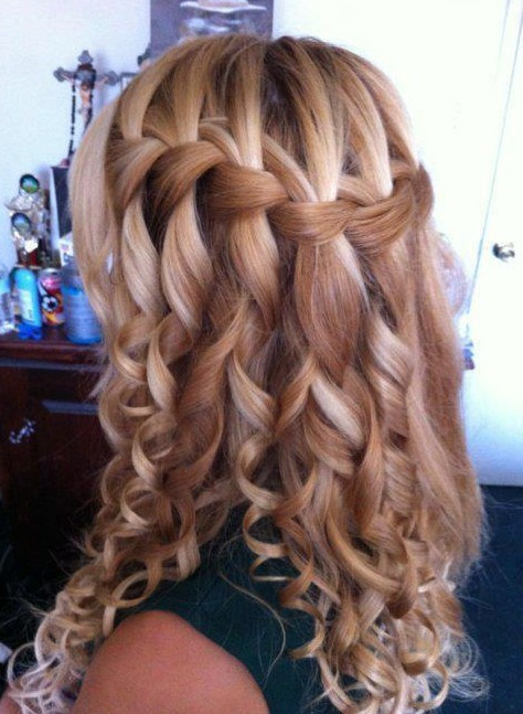 Braided Curls Hairstyle  Beautiful Cascade Waterfall Braid Hairstyles Gallery