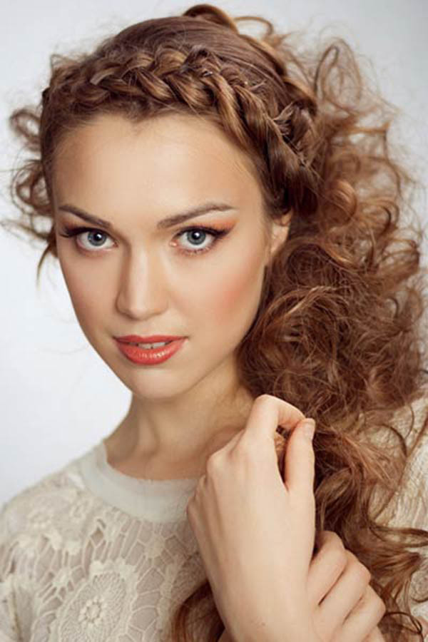 Braided Curls Hairstyle  Half Up Half Down Braided Hairstyle Women Hairstyles