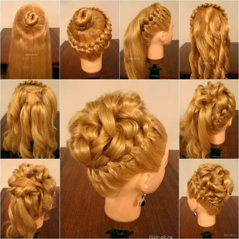 Braided Curls Hairstyle  Wonderful DIY Elegant Hairstyle With Braids and Curls