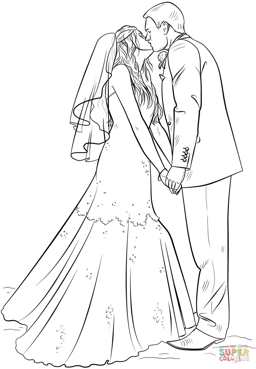 Bride Coloring Pages  Bride and Groom coloring page
