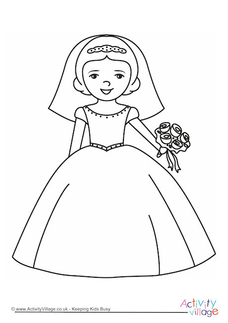 Bride Coloring Pages  Bride Colouring Page