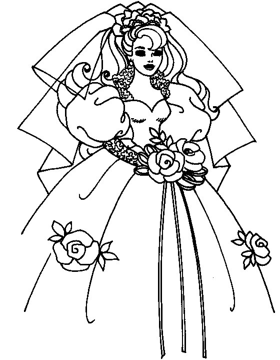 Bride Coloring Pages  coloring page of bride wedding dress for kids Coloring Point