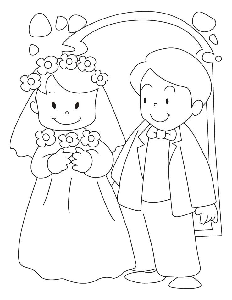 Bride Coloring Pages  Bride And Groom Coloring Pages Coloring Home