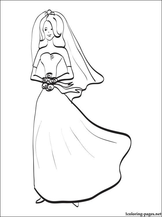 Bride Coloring Pages  Bride coloring page