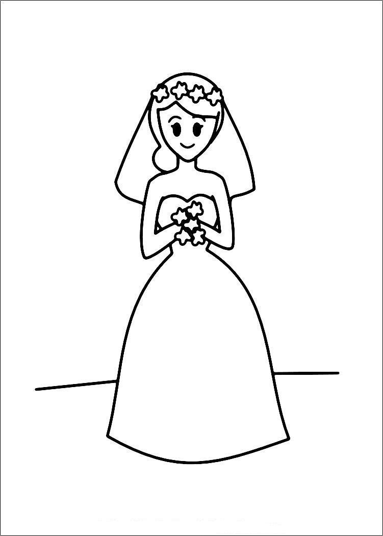 Bride Coloring Pages  Indian Bride And Groom Cartoon