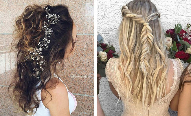 Bridesmaid Hairstyles Down  31 Half Up Half Down Hairstyles for Bridesmaids