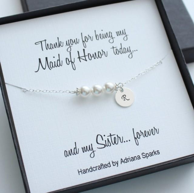 Bridesmaid Thank You Gift Ideas  Personalized Maid Honor Gifts Personalized Pearl