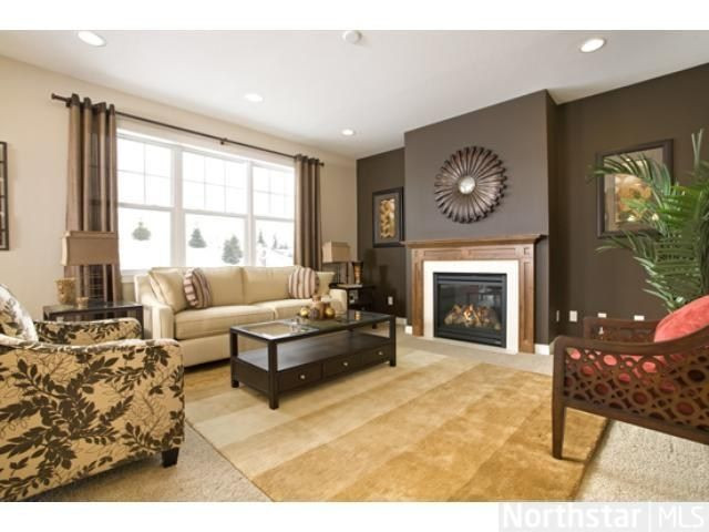 Best ideas about Brown Accent Walls . Save or Pin Living room idea accent wall curtains Now.