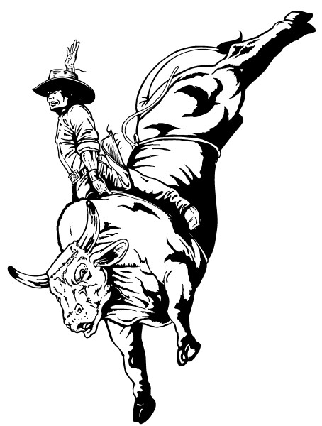 Bull Riding Coloring Pages  Bullriding Decal Sticker