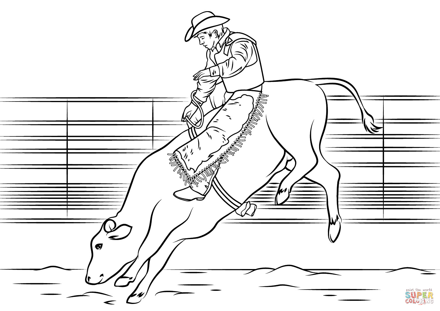 Bull Riding Coloring Pages  Bull Riding coloring page