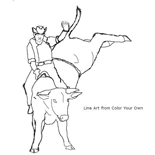 Bull Riding Coloring Pages  bull riding coloring pages