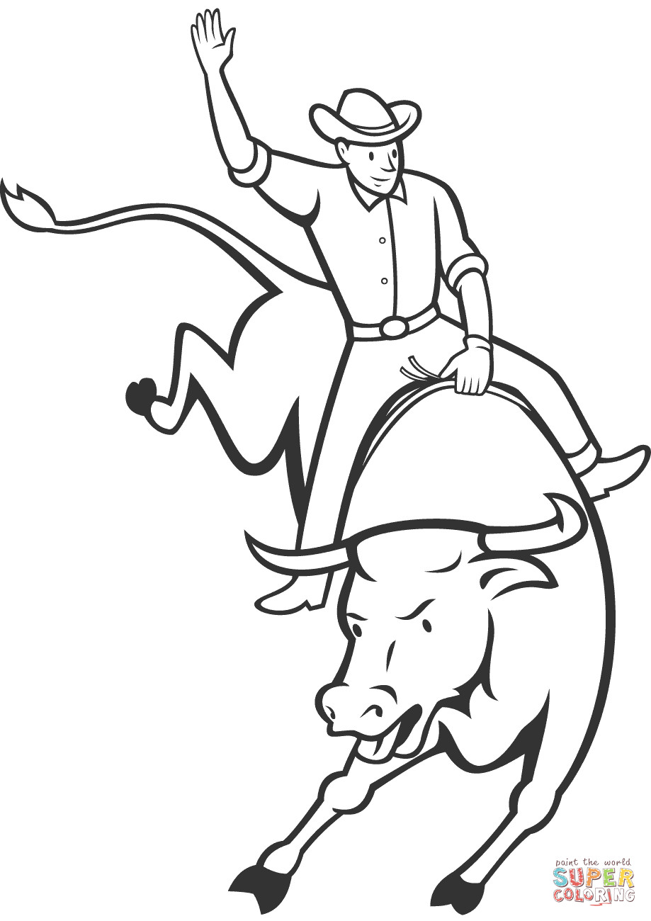 Bull Riding Coloring Pages  Rodeo Bull Riding coloring page