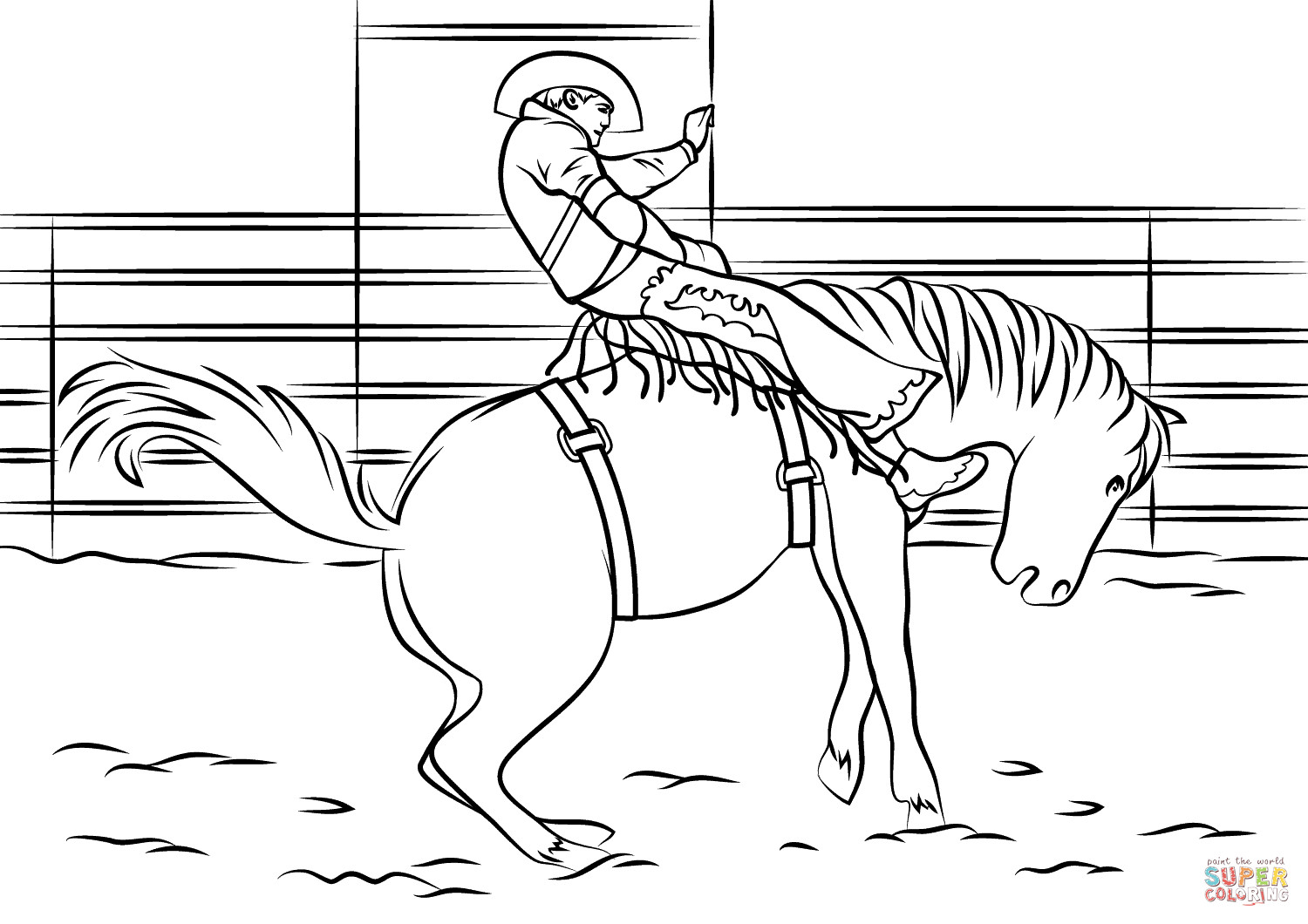 Bull Riding Coloring Pages  Saddle Bronc Rodeo coloring page
