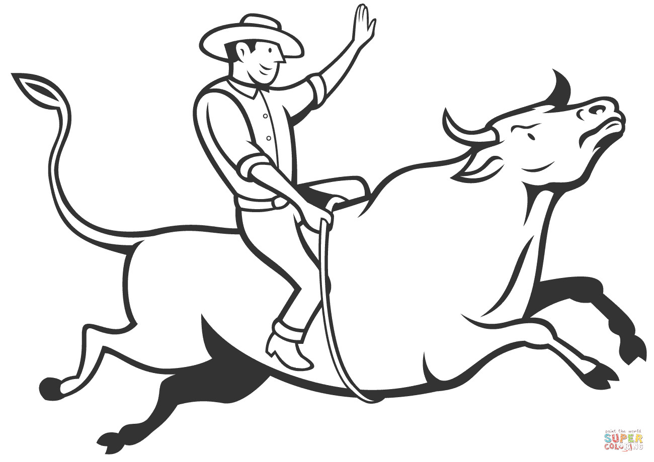 Bull Riding Coloring Pages  Rodeo Cowboy Bull Riding coloring page
