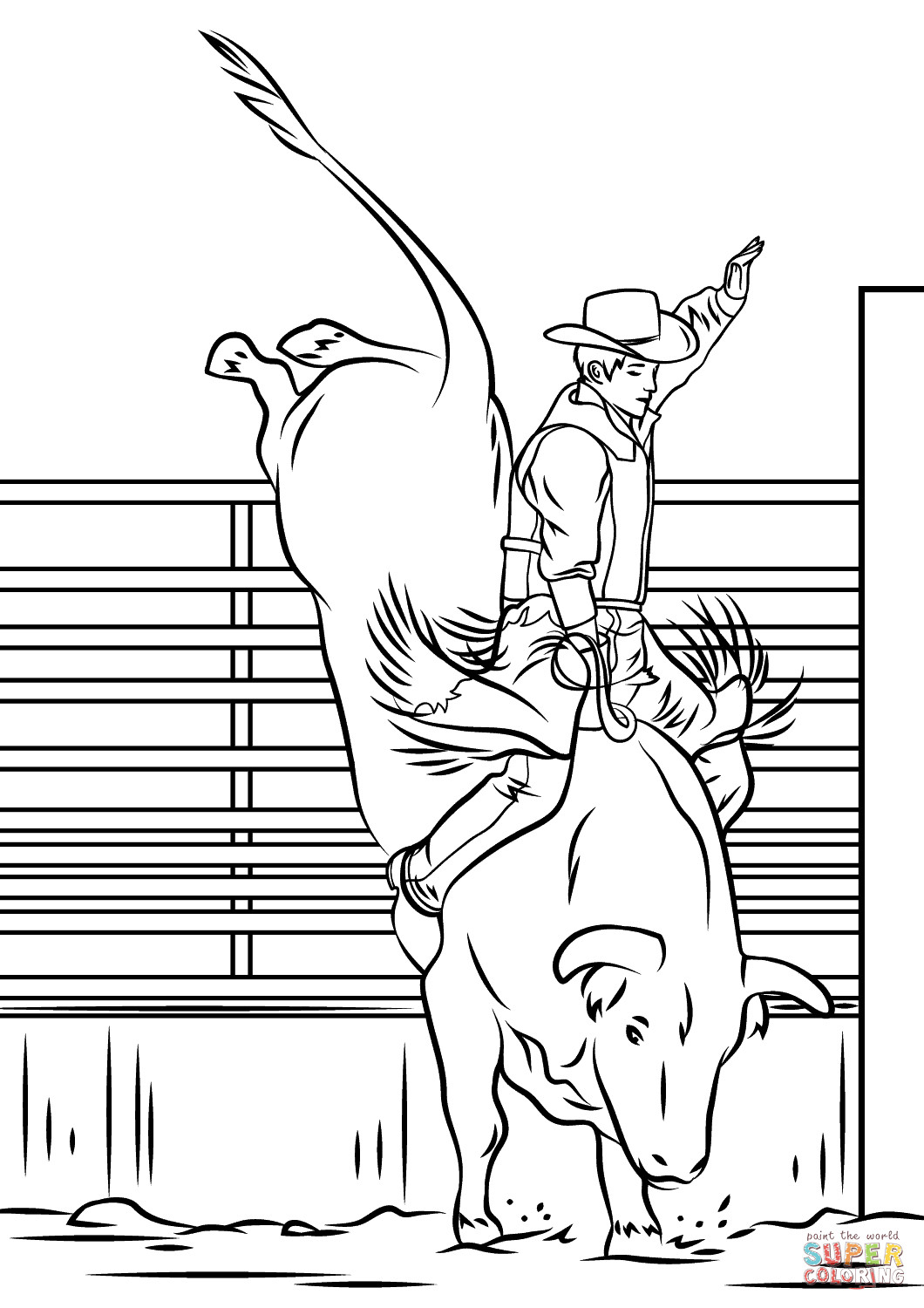 Bull Riding Coloring Pages  Bull Riding Rodeo coloring page