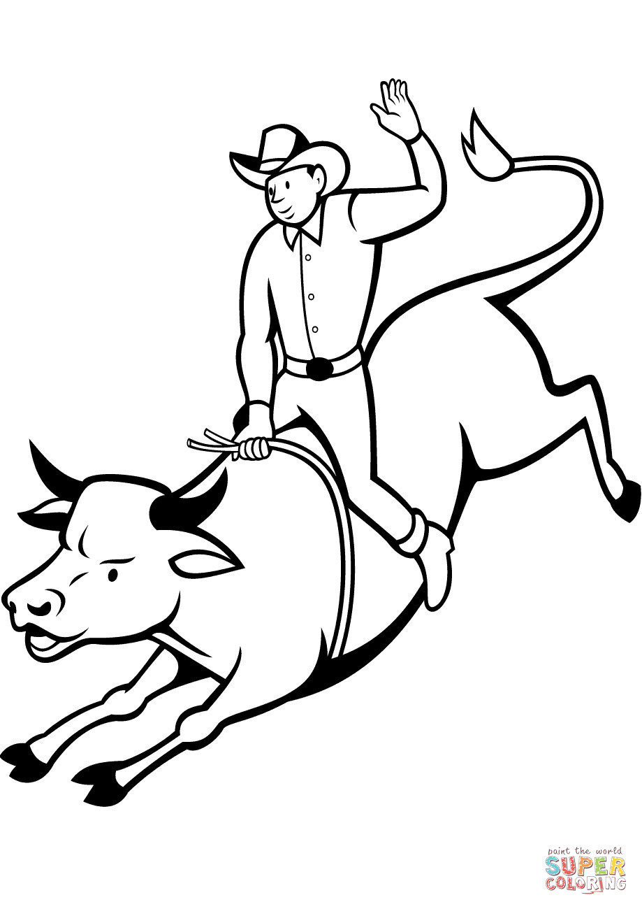 Bull Riding Coloring Pages  Rodeo Bull Rider coloring page