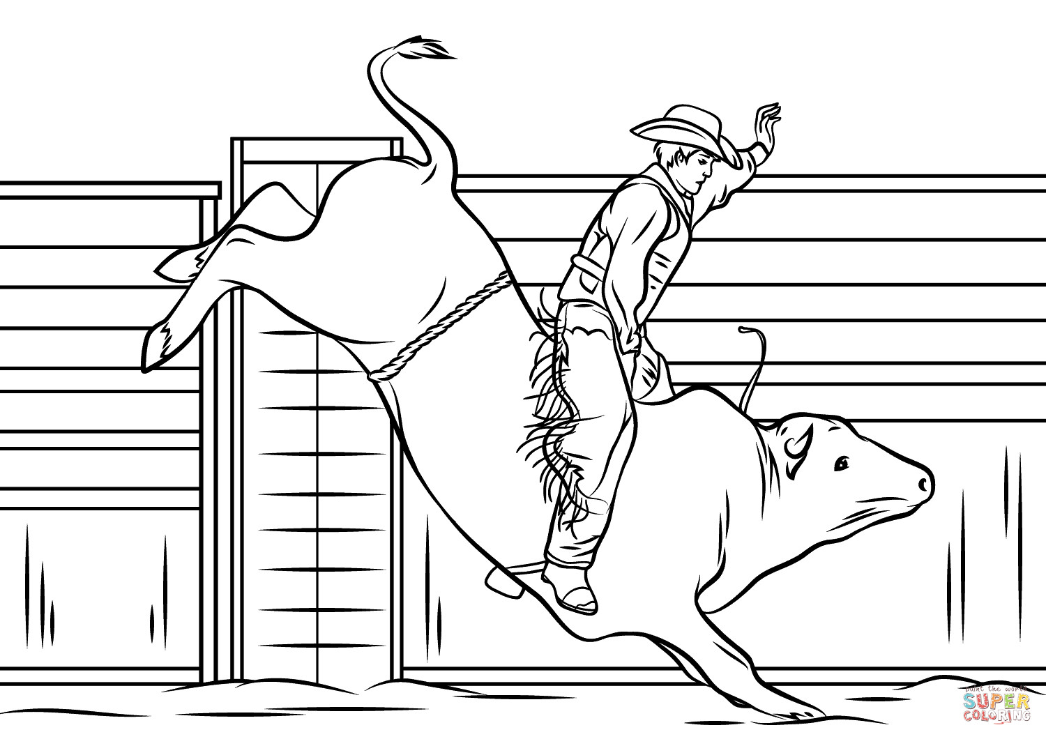 Bull Riding Coloring Pages  Cowboy Riding a Bull coloring page