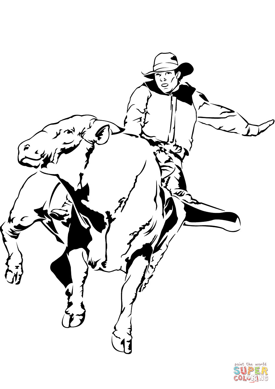 Bull Riding Coloring Pages  Bull Rider coloring page