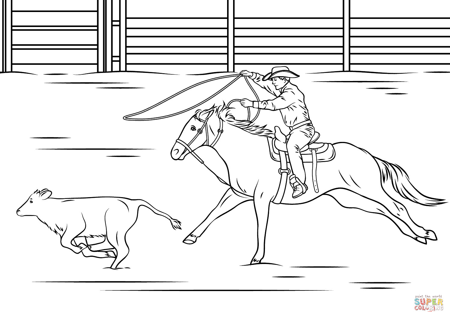 Bull Riding Coloring Pages  Calf Roping Rodeo coloring page