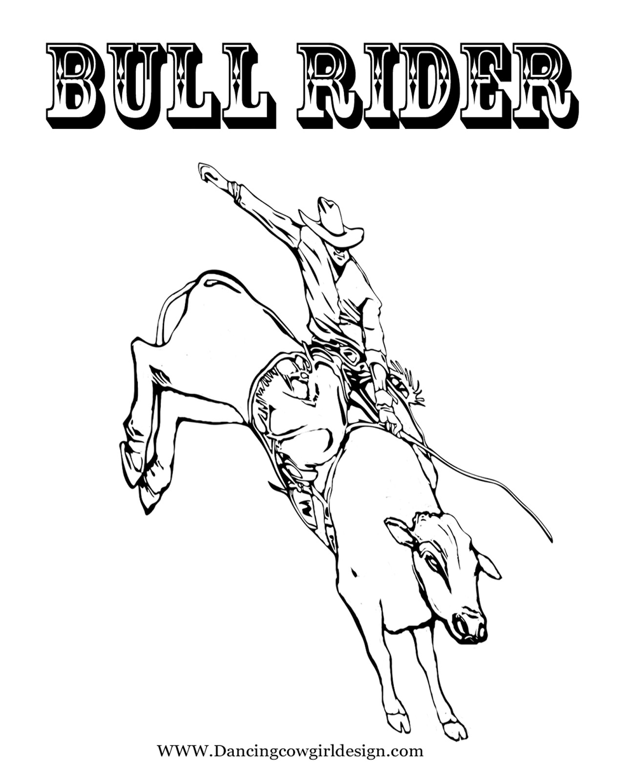 Bull Riding Coloring Pages  RODEO COLORING PAGES Bull Rider Coloring Sheet 2