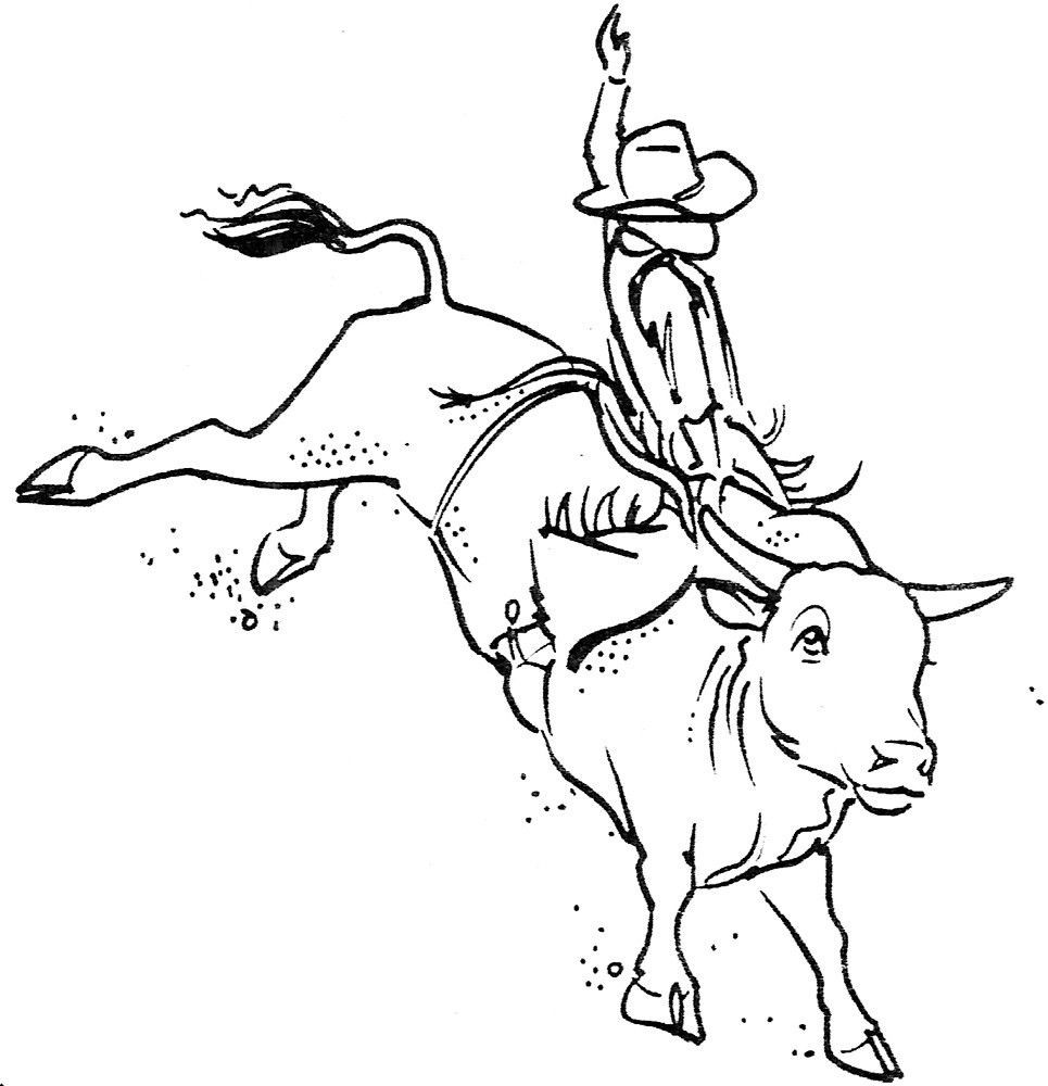 Bull Riding Coloring Pages  Unmounted Rubber Stamps Western Bull Riding Set Cowboys