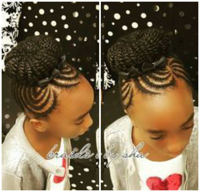 Best ideas about Bun Hairstyles For Kids . Save or Pin 29 Braided Cornrows With Buns For Little Black Girls Now.