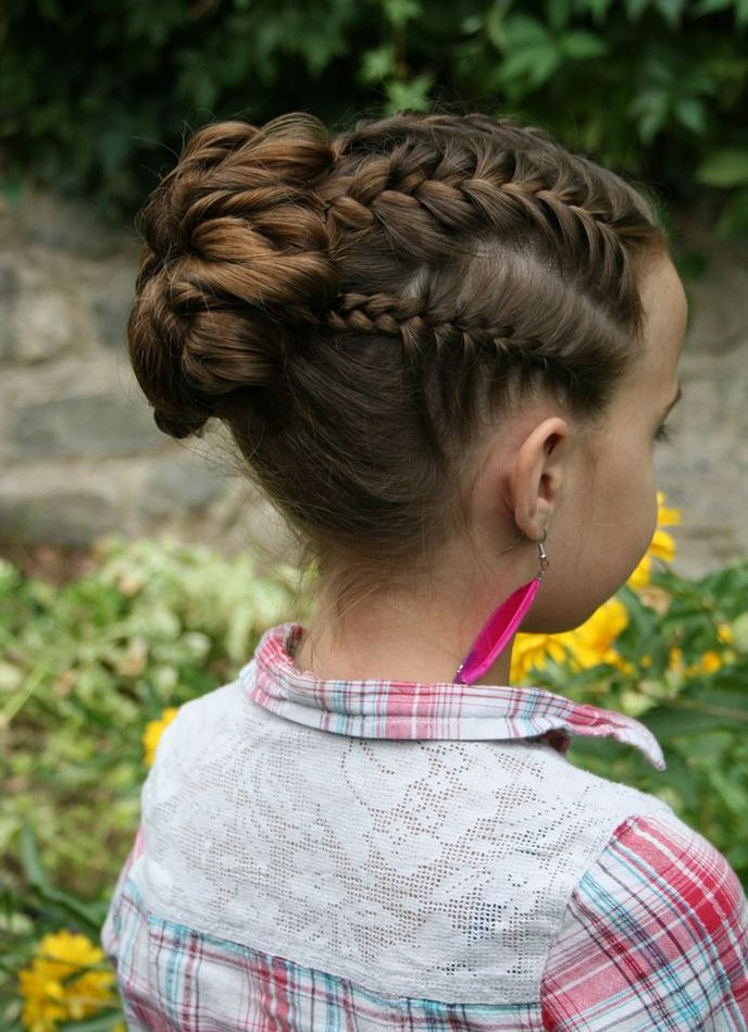 Best ideas about Bun Hairstyles For Kids . Save or Pin Kids Braids Bun Now.