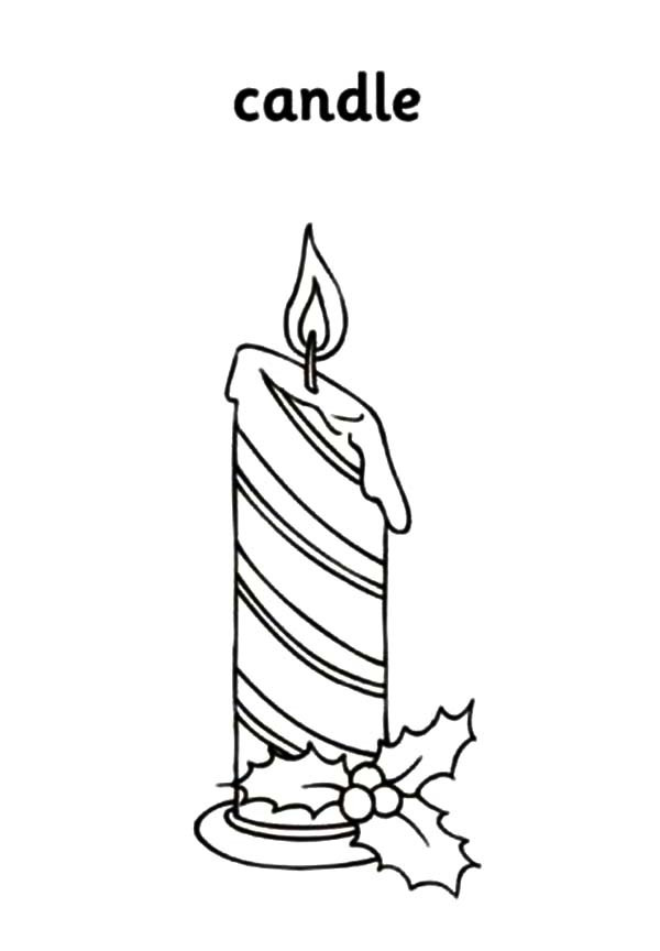 Candle Coloring Pages  Horizontal Stripe Christmas Candle Coloring Pages