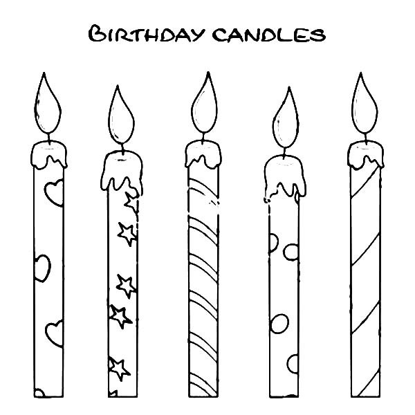 Candle Coloring Pages  Printable Birthday Candles Template – Best Happy Birthday