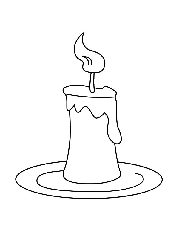 Candle Coloring Pages  Candle on Plate Coloring Pages