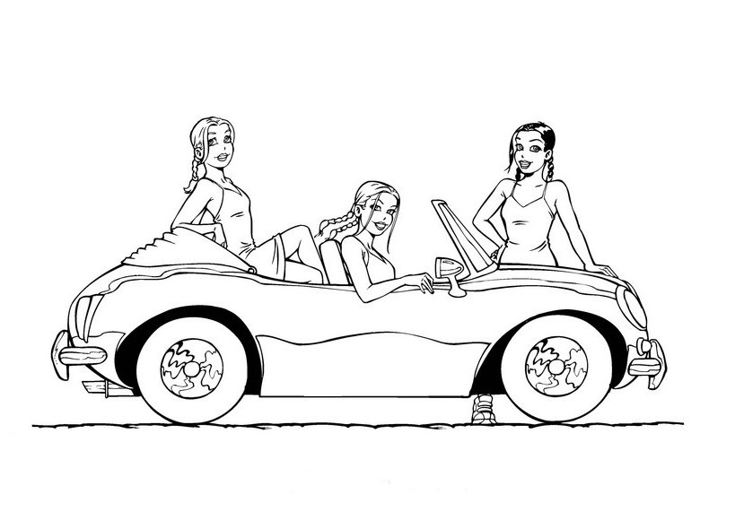 Best ideas about Car Coloring Pages For Girls . Save or Pin coloring page of 3 girls with car Coloring Point Now.