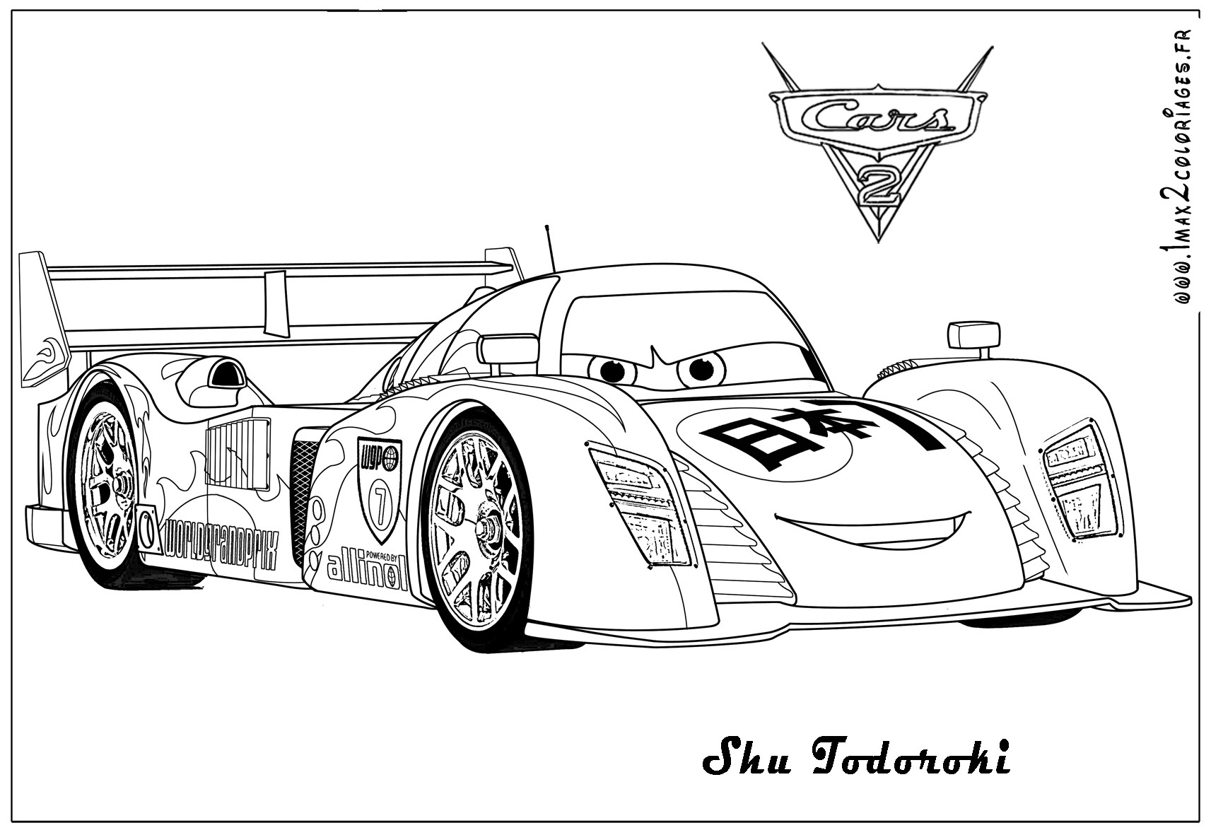 Cars 2 Free Coloring Pages  Free Printable Color Pages For Adults Cars 2 The Art Jinni