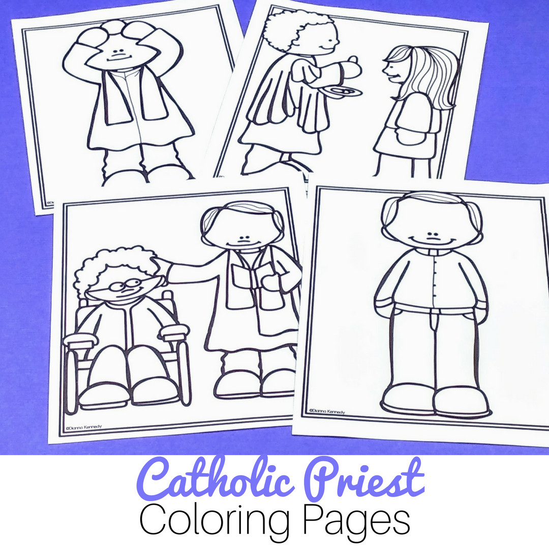 Catholic Coloring Books  Priest Coloring Pages for Catholic Kids No Prep Just