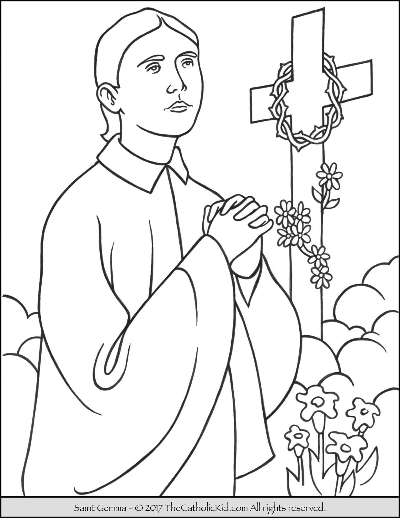 Catholic Coloring Books  Saint Gemma Coloring Page TheCatholicKid