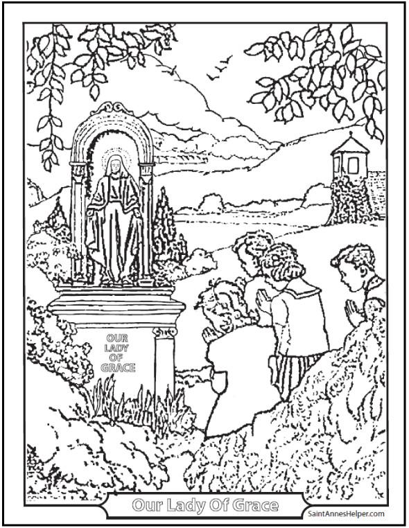 Catholic Coloring Books  150 Catholic Coloring Pages Sacraments Rosary Saints