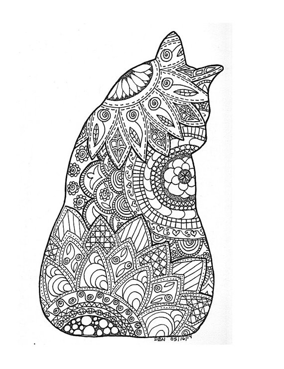 Cats Adult Coloring Book  Cat Coloring Pages for Adults Bestofcoloring