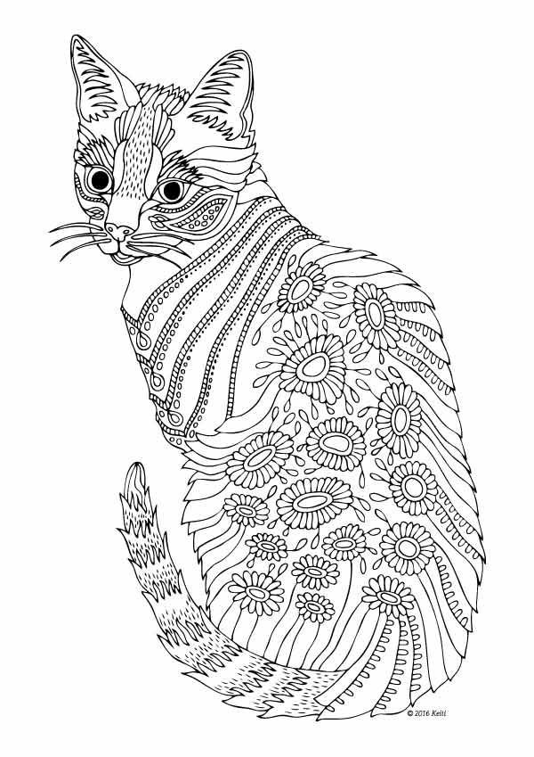 Cats Adult Coloring Book  629 best Adult Colouring Cats Dogs Zentangles images on