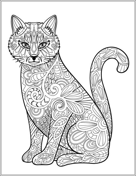 Cats Adult Coloring Book  630 best Adult Colouring Cats Dogs Zentangles images on