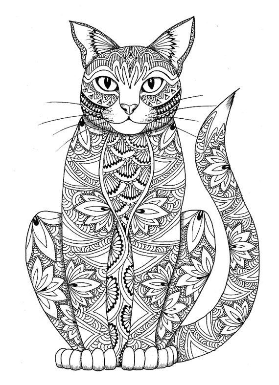 Cats Adult Coloring Book  Cat coloring page by miedzykreskami on Etsy