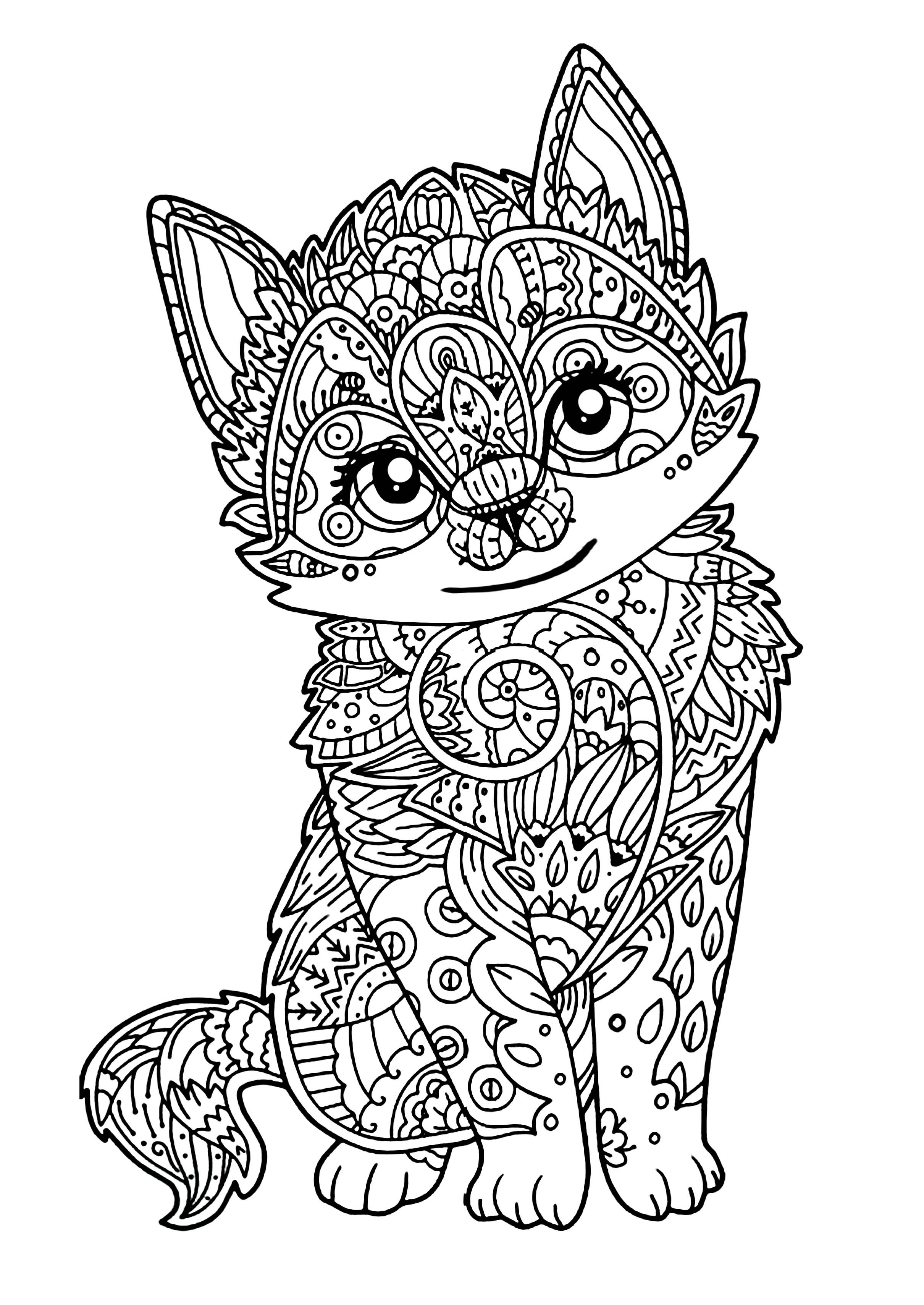 Cats Adult Coloring Book  Cute kitten Cats Adult Coloring Pages